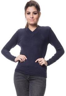 Blusa Tricot Feminina Logan Básica Linha Lycra - Feminino-Marinho