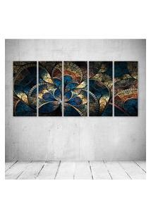 Quadro Decorativo - Abstract Fractal Cg Digital Art Artistic - Composto De 5 Quadros