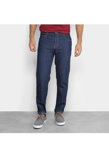 Calça Jeans Slim Zamany Lavagem Tradicional Masculina - Masculino-Azul