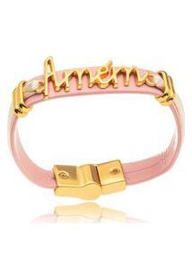 Pulseira Amém Lisa Rose Color Gazin Banhado A Ouro 18K - Unico - Ouro Dourado