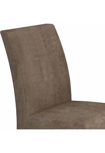 Conjunto Sala De Jantar Mesa Tampo Vidro 180Cm 6 Cadeiras Olímpia New Leifer Canela/Animale Capuccino