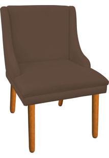 Cadeira Poltrona Decorativa Liz Suede Marrom Rato - D'Rossi