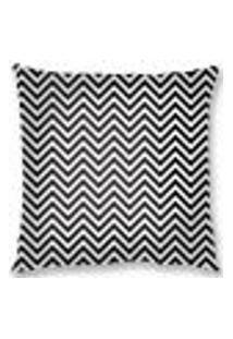 Capa De Almofada Veludo Zigzag 45X45Cm Preto/Branco Decor.