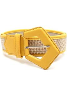 Cinto Birô Textura Fivela Triângular Feminina - Feminino-Amarelo