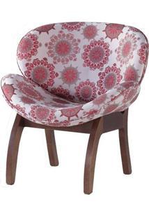 Cadeira Poltrona Grécia Estampada Com Pés Em Madeira Fiori