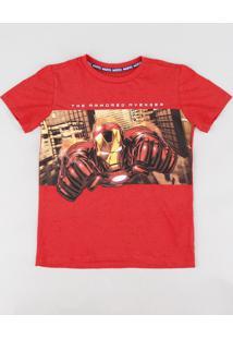 Camiseta Infantil Homem De Ferro Manga Curta Gola Careca Vermelha