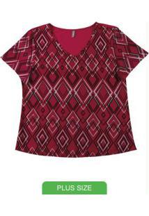 Blusa Com Estampa Geométrica Vermelho
