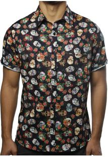 Camisa Camaleão Urbano Mix Caveira Mexicana Preta