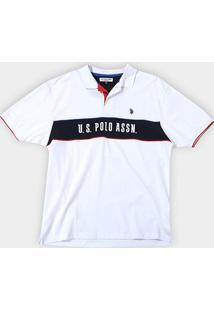 Camisa Polo U.S.Polo Assn Recorte Manga Curta Masculina - Masculino-Branco