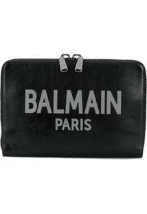 Balmain Clutch De Couro Oversized Com Logo - Preto