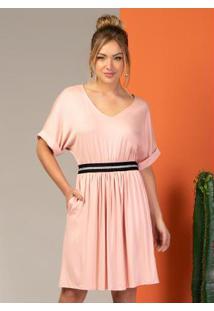 Vestido Clássico Com Elástico Na Cintura Rosa