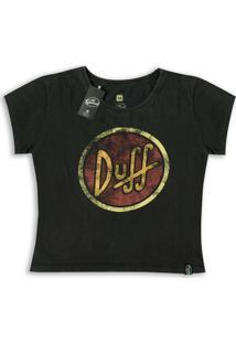 Camiseta Feminina Simpsons Duff Logo - Feminino-Preto