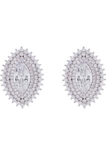 Brinco Obietto Prata Oval Com Zirconia Cristal E Micro-Zirconia