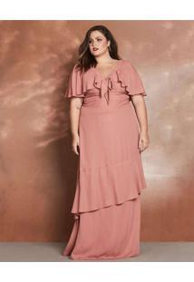 Vestido Almaria Plus Size Pianeta Longo Listra Lur