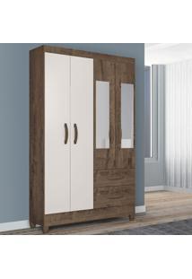 Guarda-Roupa Solteiro Real 4 Portas 2 Gavetas Com Espelho Mocaccino Rústico/Natura Off White - Atualle Móveis