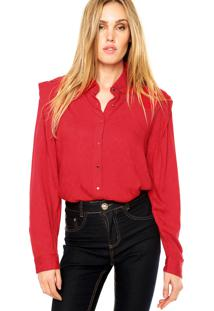 Camisa Manga Longa Forum Texturizada Vermelho