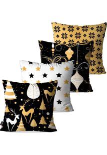 Kit Com 4 Capas Para Almofadas Pump Up Decorativas Natalinas Enfeites Dourados 45X45Cm