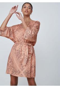 Vestido Evasê Em Tecido Crepe Estampado - Rosa