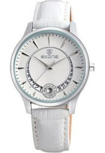 Relógio Skone Analógico 9242Bg - Branco