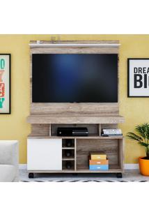 Rack Com Painel Para Tv Delta Até 42'' Castanha Rústico/Branco - Colibri Móveis