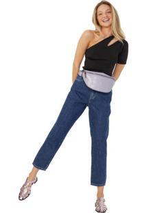 Calça Jeans Mom Linha Contraste
