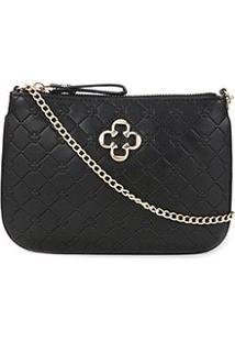 Bolsa Capodarte Mini Bag Alça Corrente Transversal Feminina - Feminino-Preto