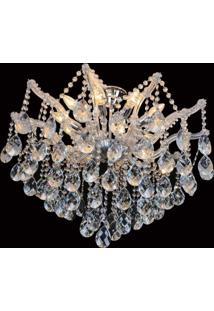 Plafon Sobrepor De Cristal Teia 70Cmx95Cmbella Iluminação Transparente