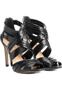 Sandália Couro Shoestock Salto Fino Drapeada Feminina - Feminino