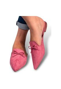 Mule Feminino Sapatilha Rasteirinha Bico Fino Camurça Rosa Moda Eleganteria