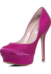 Sapato Feminino Festa Salto Alto Plataforma Cetim - Mf1331 Pink