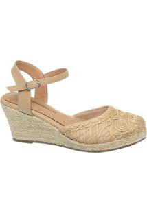 Anabela Espadrille Bordada Natural