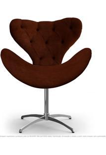 Cadeira Com Capitonê Decorativa Poltrona Egg Marrom Com Base Giratória