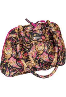 Bolsa Handbag Ana Viegas Tecido Ombro Zíper Espaçosa Feminina - Feminino-Preto+Rosa