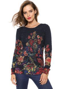 Suéter Desigual Tricot Ischar Azul-Marinho