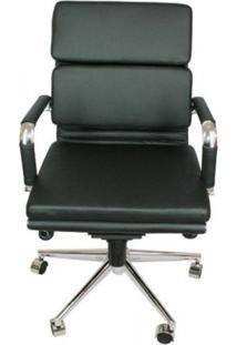 Cadeira Office Baixa Preta Base Cromada - 16795 - Sun House