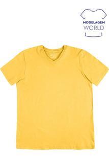 Camiseta Masculina Básica Com Decote V Na Modelagem World
