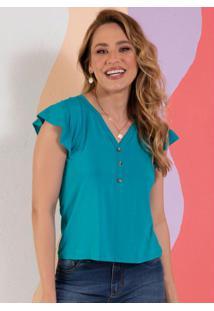 Blusa Turquesa Decote V Com Botões Decorativos