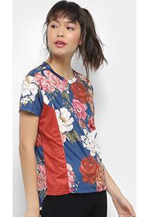 Camiseta Farm Estampada Feminina - Feminino-Azul