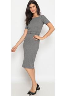 Vestido Canelado Com Cinto- Cinza- Nollitanolitta