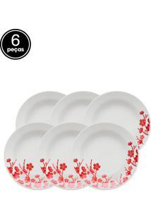 Conjunto De Pratos Fundos Oxford Cerâmica Donna Jardim Oriental 6 Pçs Branco/Vermelho