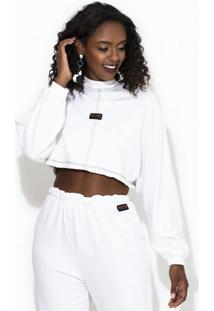 Blusão Cropped Moletom Off White