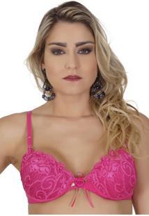 Sutiã Click Chique Básico Drapeado Com Babadinho Rosa