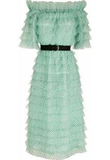 Nk Vestido Midi Tule Estampado - Verde