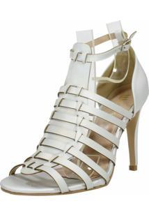 Sandália Salto Fino Week Shoes Prata Fosco