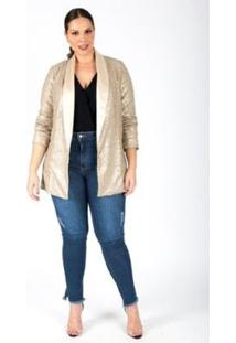 Blazer Almaria Plus Size Lady More Paetê Feminino - Feminino
