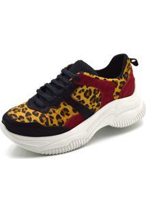 Tênis Sneaker Chuncky Ellas Online Preto/Leopardo/Vermelho