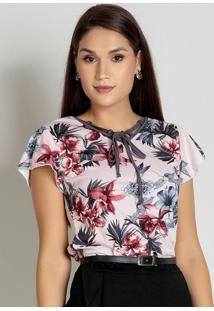 Blusa Floral Rosê Com Amarração Moda Evangélica