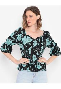 Blusa Floral Com Babados Operate Feminina - Feminino-Preto