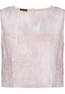 Emporio Armani Blusa Sem Mangas Com Bordado - Rosa