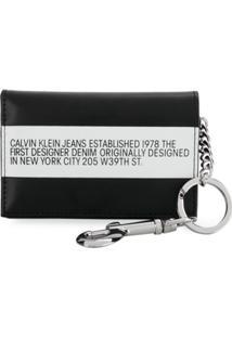 Calvin Klein Jeans Carteira De Couro - Preto